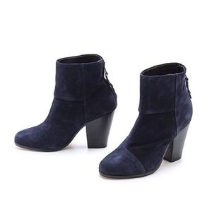Rag & Bone Blue Suede Newbury Ankle Booties